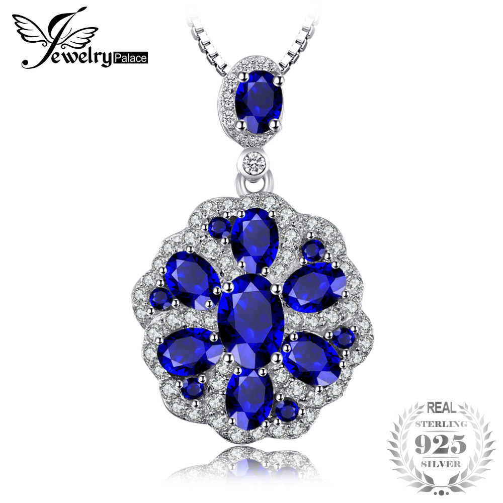 JewelryPalace Flower 2.6ct Created Sapphire Spinel Pendants Charm 925 Sterling Silver Brand Luxury Jewelry Not Include a ChainJewelryPalace Flower 2.6ct Created Sapphire Spinel Pendants Charm 925 Sterling Silver Brand Luxury Jewelry Not Include a Chain