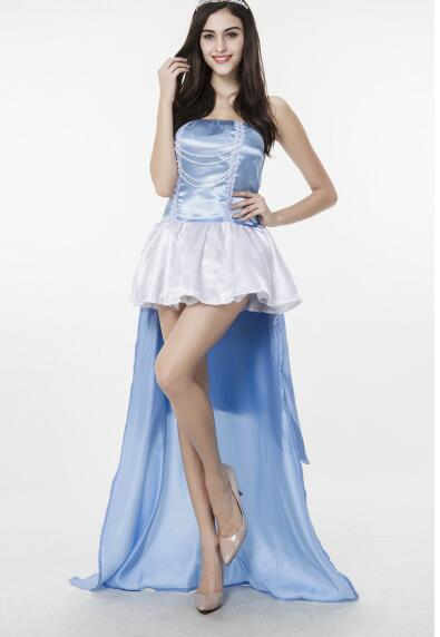 Free Shipping ladies adult light blue and white cinderella cosplay costume