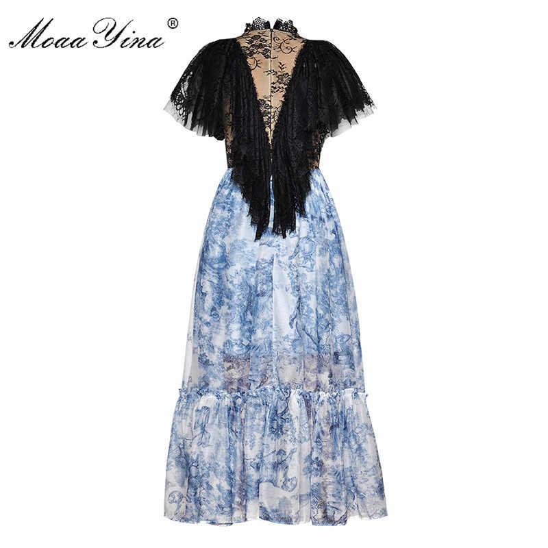MoaaYina модельер взлетно-посадочной полосы платье сезон: весна–лето Для женщин водолазка платье кружева лоскутное Тотем печати Бальные платья