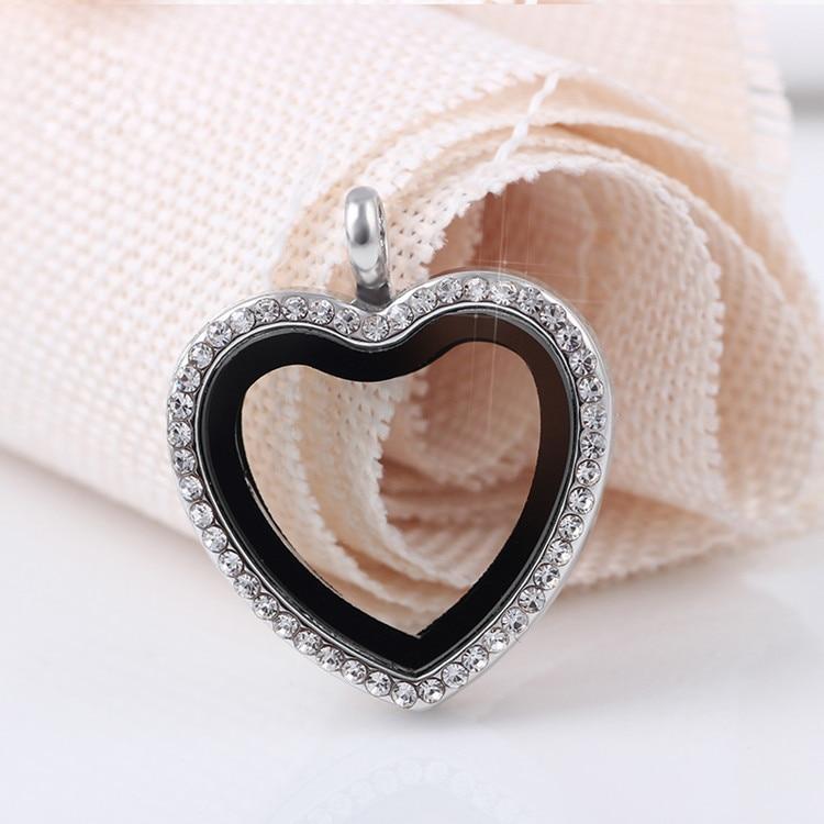 10pcs/lot Rhinestone Alloy Heart Floating Locket Necklaces & Pendants - Fashion Jewelry - Photo 6