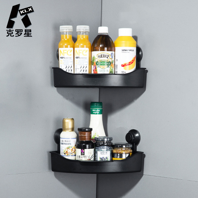 KLX NEW Bathroom Drain Corner Shelf Vacuum Strong Suction Cup Kitchen Punch Free No Trace Spice Rack Household Storage Organizer