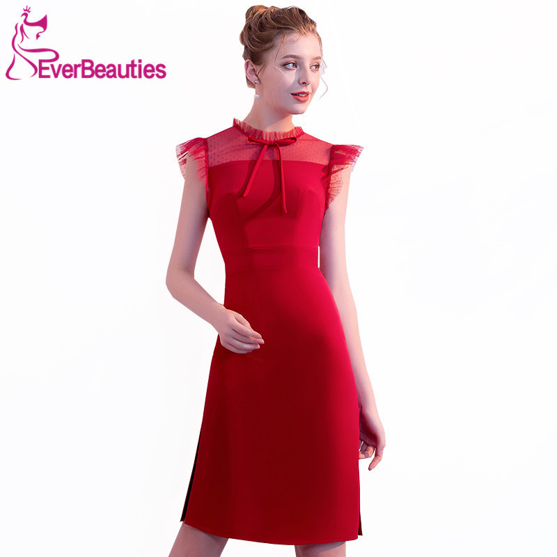 Wine Red Cocktail Dresses 2018 Knee Length Homecoming Dresses For