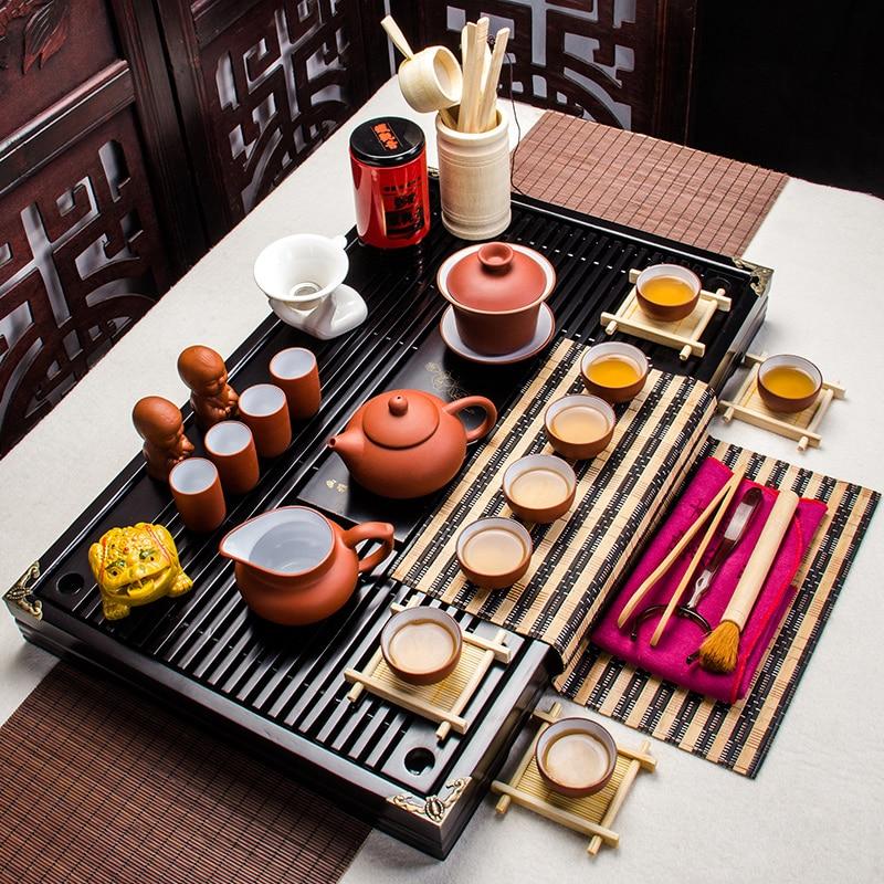 Tea Cups and Saucers Sets China Gungfu Cha Tea Service with 8 Teacups Teapot Gaiwan Tea Tools Tea Infuser Tea Pet Tea Tray A005