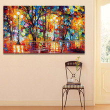 Large High Quality Handpainted Knife Oil Painting On Canvas Abstract Modern painting Wall Decor Rain Tree Road Palette Picture