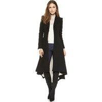 Frauen Einfache Metall Manschettenknöpfe Falten Revers Anzug Nach Schwanz Wind Mantel
