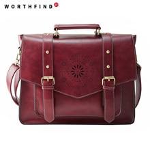 5a365609ccbe WORTHFIND New Women PU Leather Handbag High Quality Retro Women Messenger  Bags Famous Designer Leather Briefcase Shoulder Bag