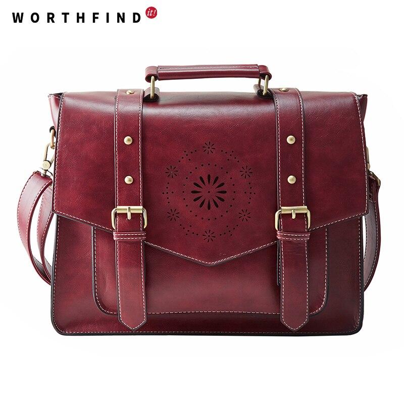 Worthfind Новый Дамские туфли из PU искусственной кожи сумки Высокое качество Ретро Для женщин Курьерские сумки известный дизайнер кожаный Порт... ...