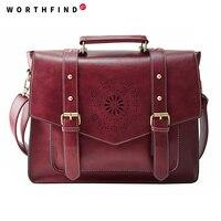 2016 New Women PU Leather Handbag High Quality Retro Women Messenger Bags Famous Designer Leather Briefcase