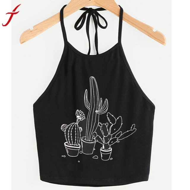 7374d38272c16 Summer Sexy Bustier Crop Tops Women Funny Printed Vest Top Casual Sleeveless  Tank Tops T-Shirt Black Camis Vest