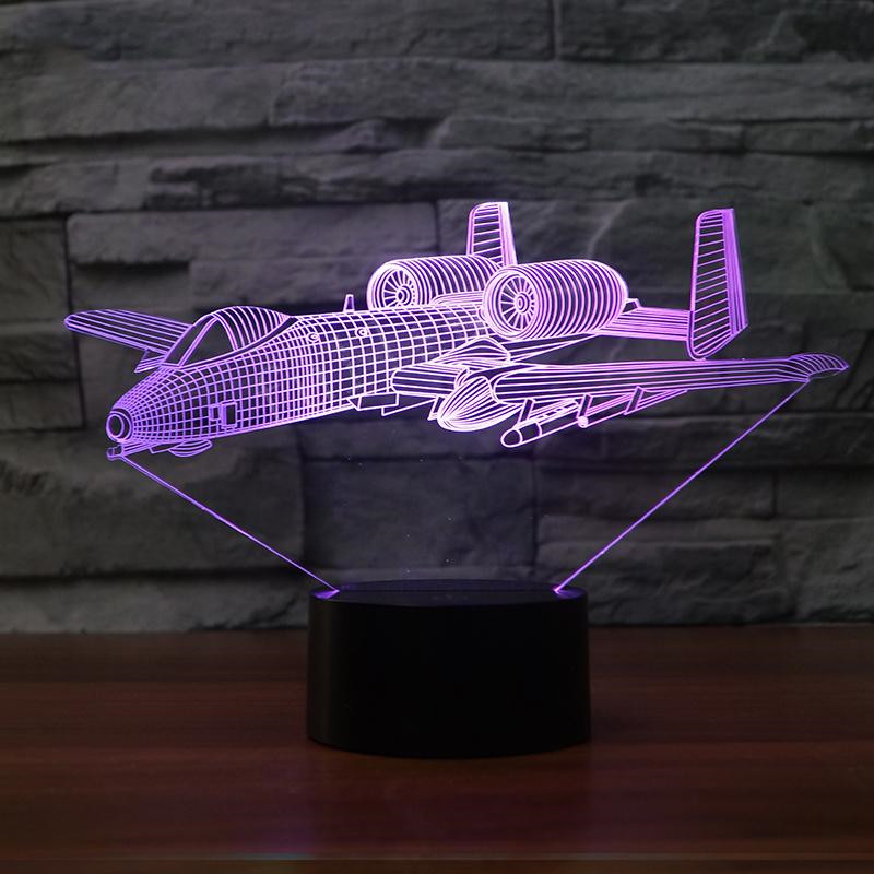 Aircraft Modelling 3D LED Night Light USB Air Plane Table Lamp Creative Bedroom Decor Kids Gift Bedside Baby Sleep Light Fixture wine cup bottle modelling 3d table lamp led 7 colorful acrylic night light xmas kids gifts sleep lighting bedroom bedside decor