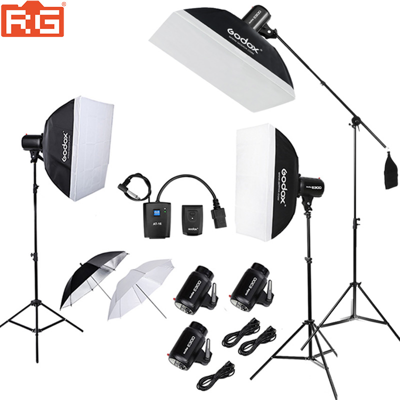 900Ws Godox Strobe Studio Flash Light Kit 900W Photographic Lighting Strobes Light Stands Triggers Soft Box