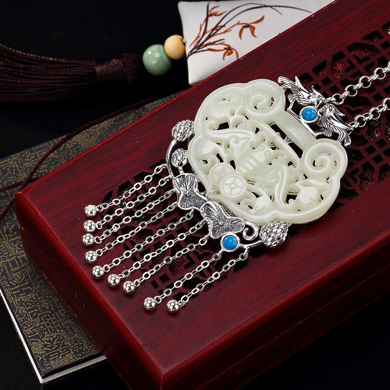 pure silver inlay restoring ancient ways hetian jade white jade lotus tassel bat women wholesale sweater chain pendant цена 2017