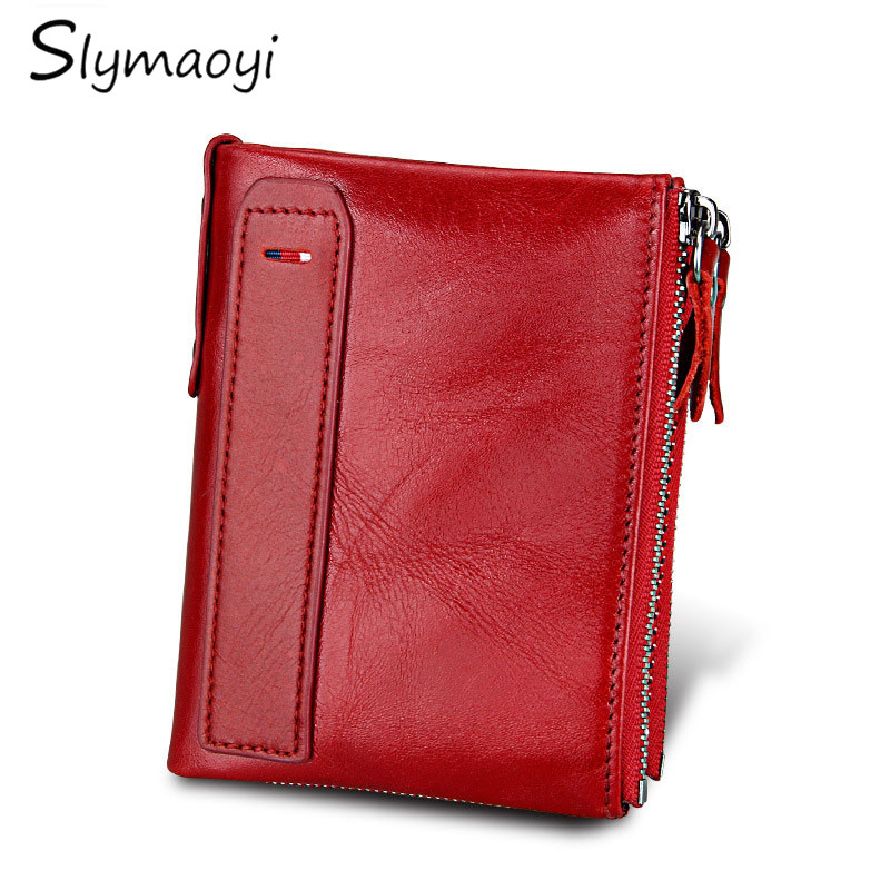 Slymaoyi Brand Genuine Leather Women Wallet Bifold Wallets ID Card Holder Coin Purse with Double Zipper Small Women's Purse Red 2018 fashion genuine leather women wallet bi fold wallets id card holder coin purse with double zipper small women s purse