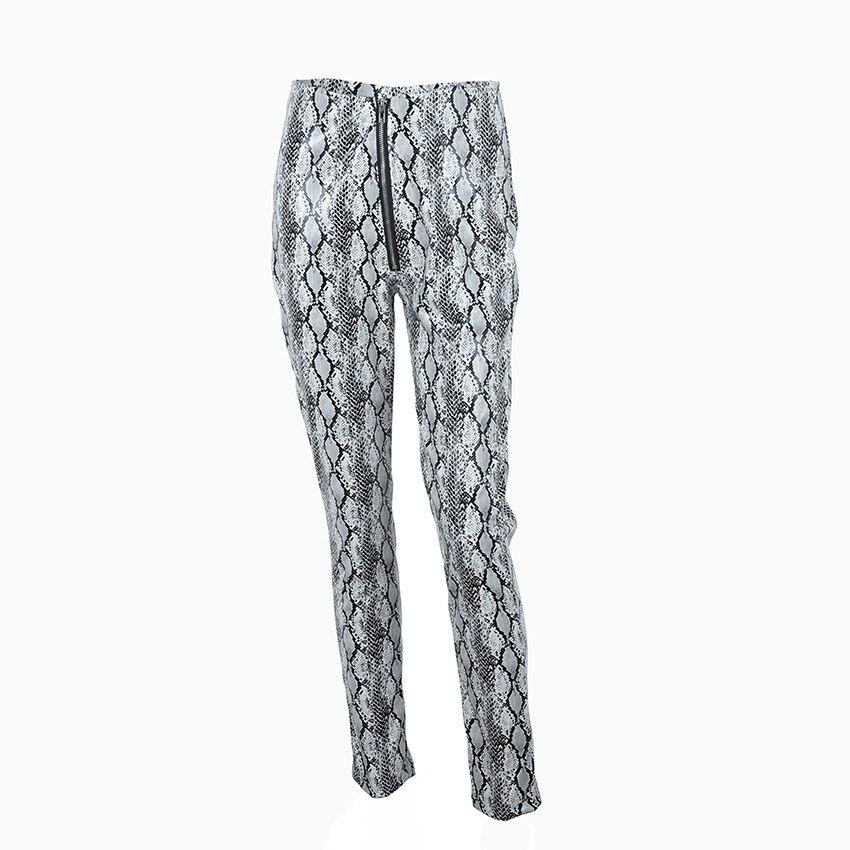 Gray Gris Calle Las Pu Cuero Pantalones Con Pantalon Ootn Cremallera Flaco De Serpiente Mujer Imprimir 2019 Lápiz Alta Cintura Mujeres Nuevo RaaqU