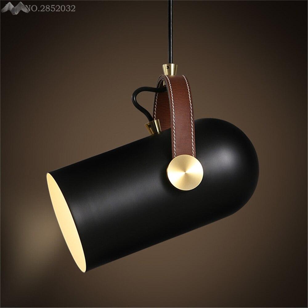 Métal fer Art moderne bref Edison suspension lampe, mode en cuir sangles pendentif LED lumières pour magasin bar café suspension lampe déco