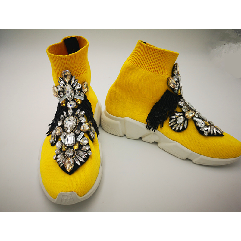 Yellow Shoes Women Sneakers Rhinestone Crystals Gemstone Fashion Flats WK102