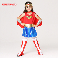 VEVEFHUANG Halloween Superman Wonder Woman Children Party Cosplay Costumes Gift For Girls Clothes Children S Clothing