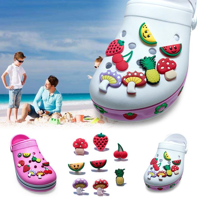 Single Sale 1pc Fruits&Flowers PVC Shoe Charms,Shoe Buckles Accessories Fit Bands Bracelets Croc JIBZ,Kids Party X-mas Gifts