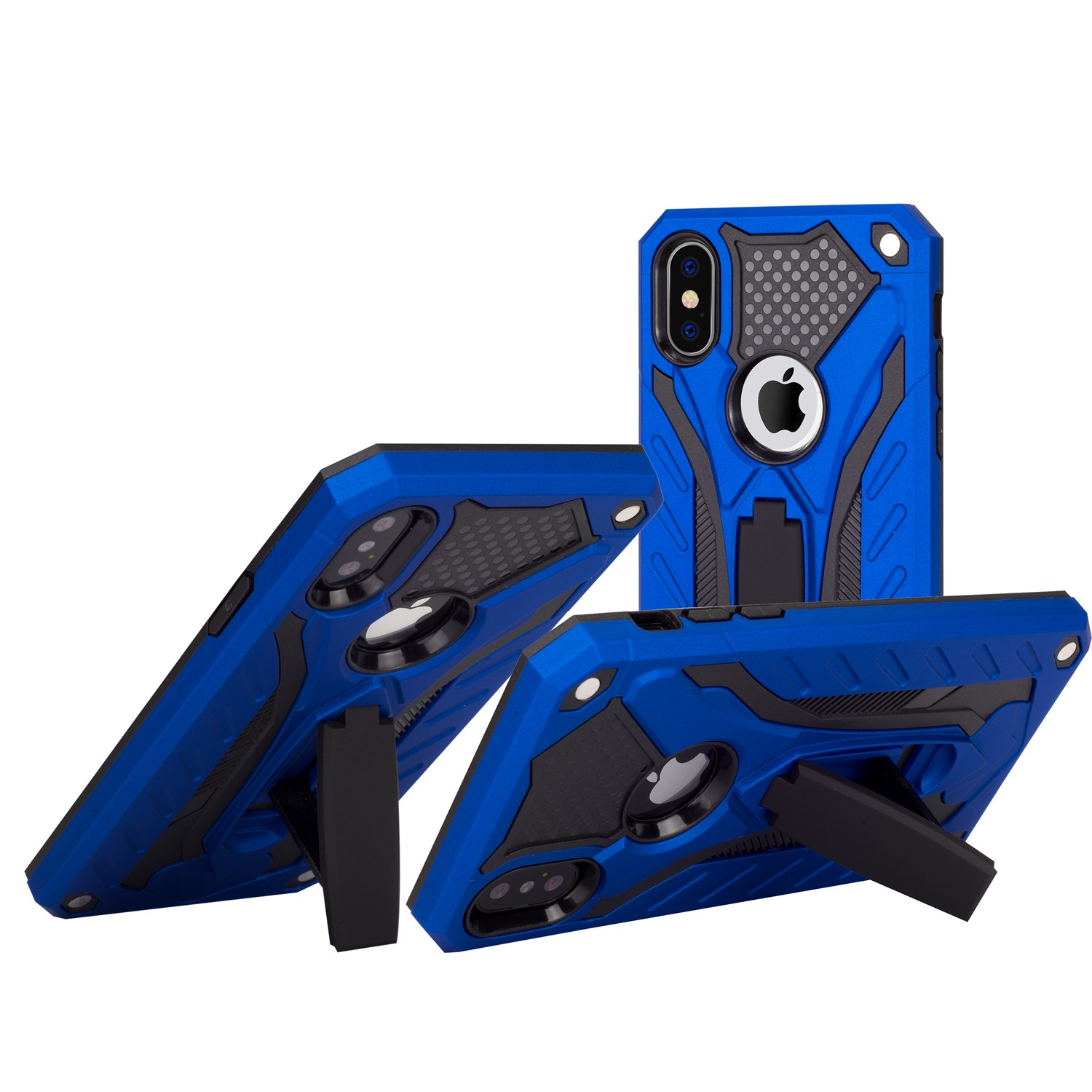 Stand <font><b>case</b></font> Silicone with <font><b>Armor</b></font> for <font><b>Samsung</b></font> Galaxy <font><b>A50</b></font> Blue image