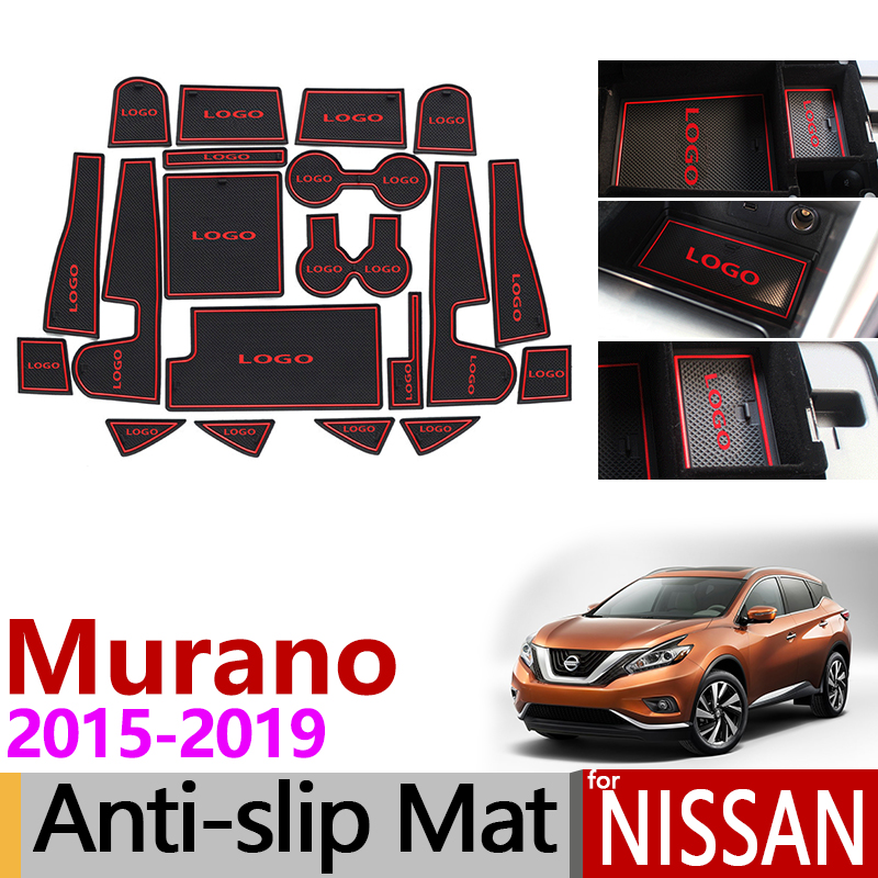for Nissan Murano Z52 2015~2019 Anti-Slip Rubber Cup Cushion Door Groove Mat Accessories Stickers Car Styling 2016 2017 2018 for honda stepwgn 2015 2018 non slip mats rubber cup cushion door groove mat 2016 2017 accessories car styling car stickers