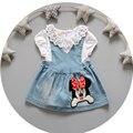 Denim dress para las niñas de encaje de dibujos animados de verano vestir princesa infantil prendas de vestir exteriores del paño del deporte del niño embroma la ropa t-shirt + dress