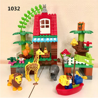 86pcs DIY Large Size Building Blocks Bricks Jungle Villa Animal Lion Squirrel Toys For Gifts Compatible With Legoingly Duploe