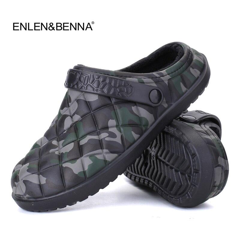 Neue Winter Männer Sandalen 2017 Neue Croc Männer Strand Schuhe Camouflage Hausschuhe plüsch Warme Flip Flop Plüsch Garten Sandalen Clogs außerhalb