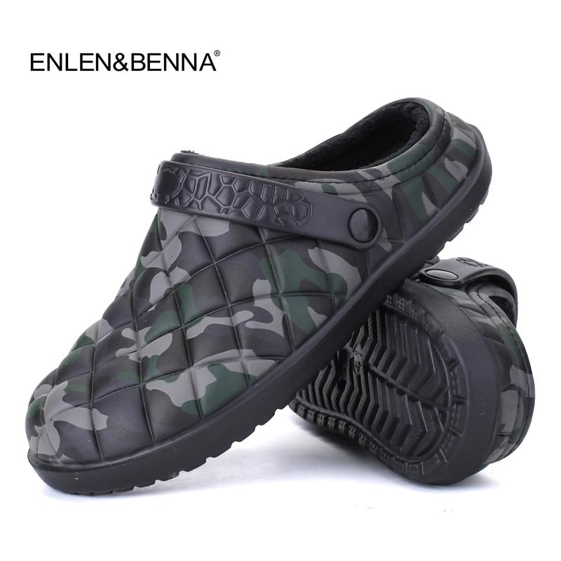 New Winter Men Sandals 2017 New Croc Men Beach Shoes Camouflage Slippers plush Warm Flip Flop Plush Garden Sandals Clogs Outside