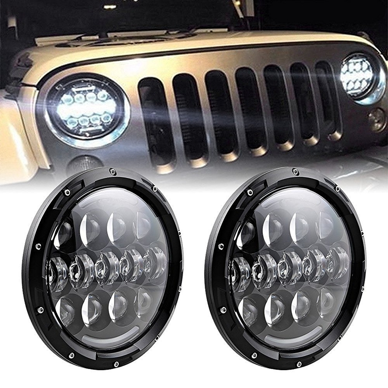 Pair 105W 7 Inch Round LED Headlight Turn Signal DRL fit For Jeep Wrangler TJ LJ JK Unlimited CJ Scrambler 1 pair 7 inch rectangular led headlight