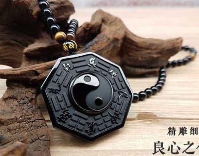 100% naturel obsidienne sculpté à la main yin et yang potins pendentif porte-bonheur