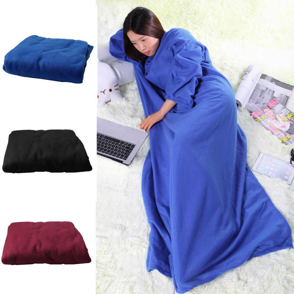 2019 The most fashionable dinner family winter warm wool blanket robe shawl with sleeves