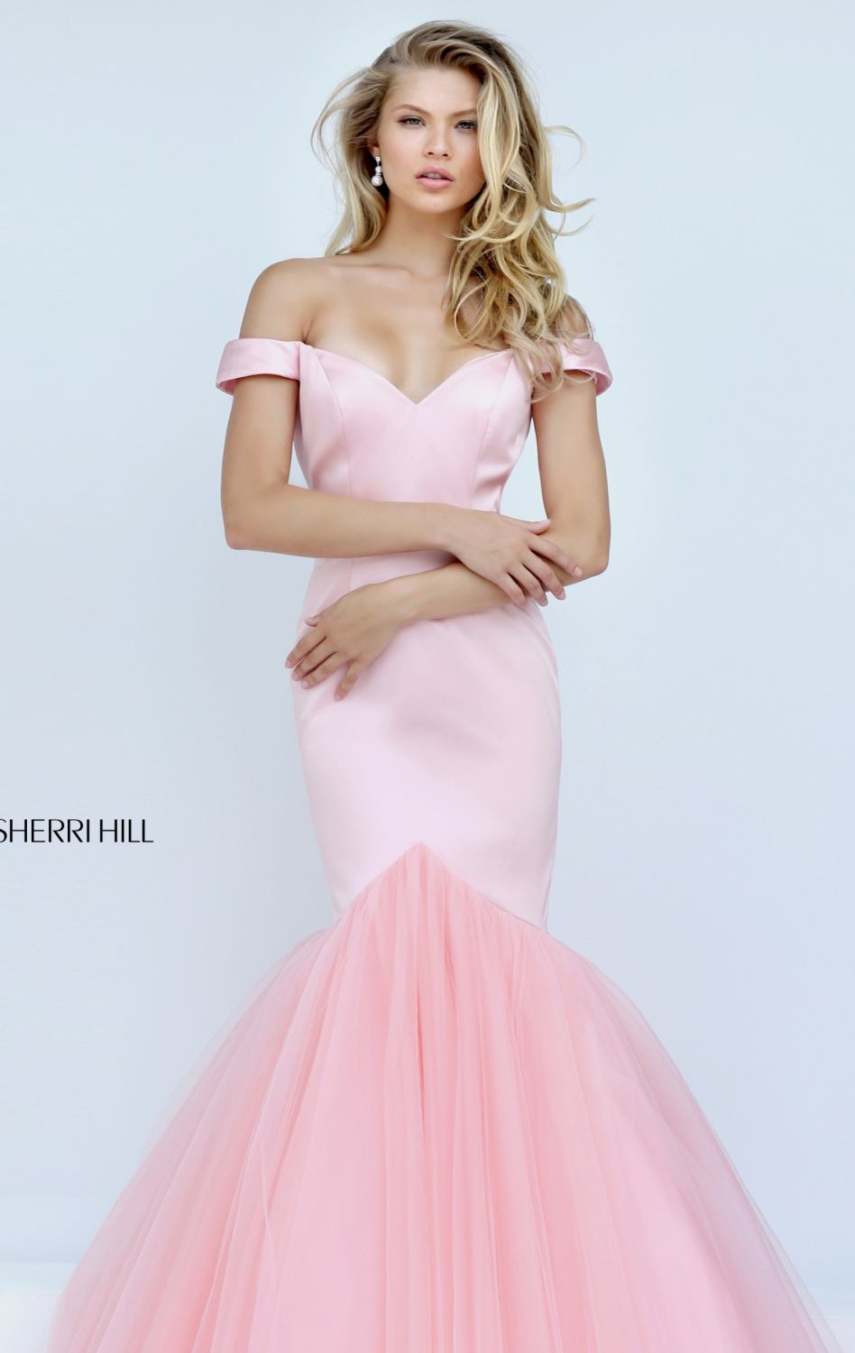 Turquoise Pink White Satin And Tulle Long Off the shoulder Neckline ...