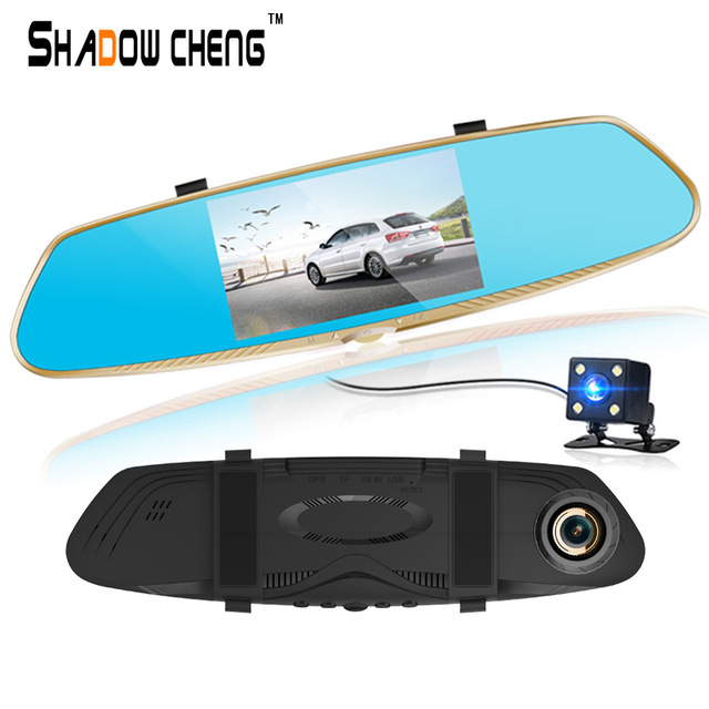 Car camera FHD 1080P car dvr parking rearview mirror video recorder with night vision front Rear View Camera video recording