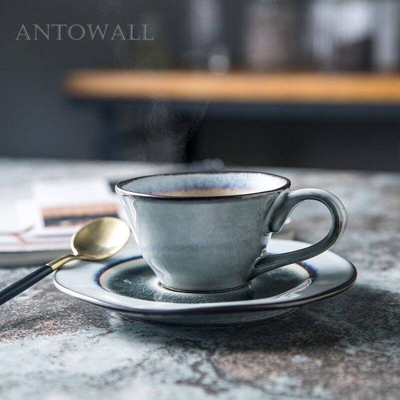 ANTOWALL кофе треугольная чашка ледяная трещина глазурь послеобеденный чай керамическая посуда Питьевая утварь чашка и блюдце набор бытовой