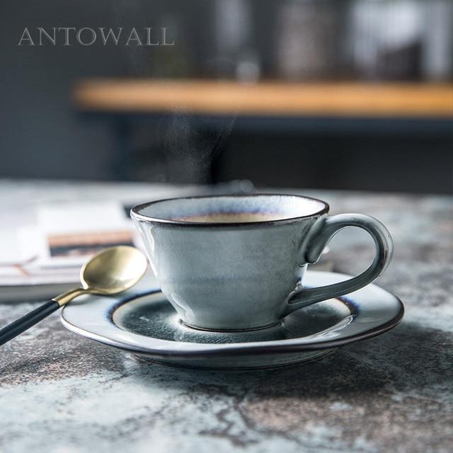 ANTOWALL Coffee triangular cup ice crack glaze afternoon tea ceramic tableware drinking utensils cup andsaucer set household