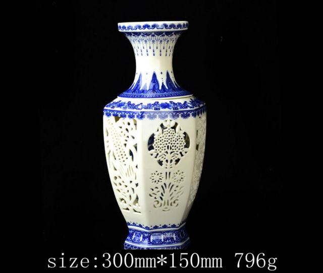 Set 2 Pieces Hollowed Chinese Blue And White Porcelain Big Vase W
