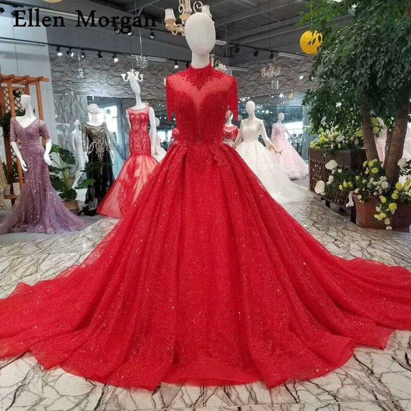Яркие красные фотографии Кружева Бальные платья Свадебные платья 2018 Высокая шея Кепки рукава блестящими камнями спинки Свадебные платья