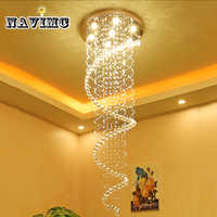 Modern K9 Crystal Chandeliers Large LED Spiral Living Room Lighting Fixture for Staircase Stair Lamp Showcase Bedroom Hotel Hall