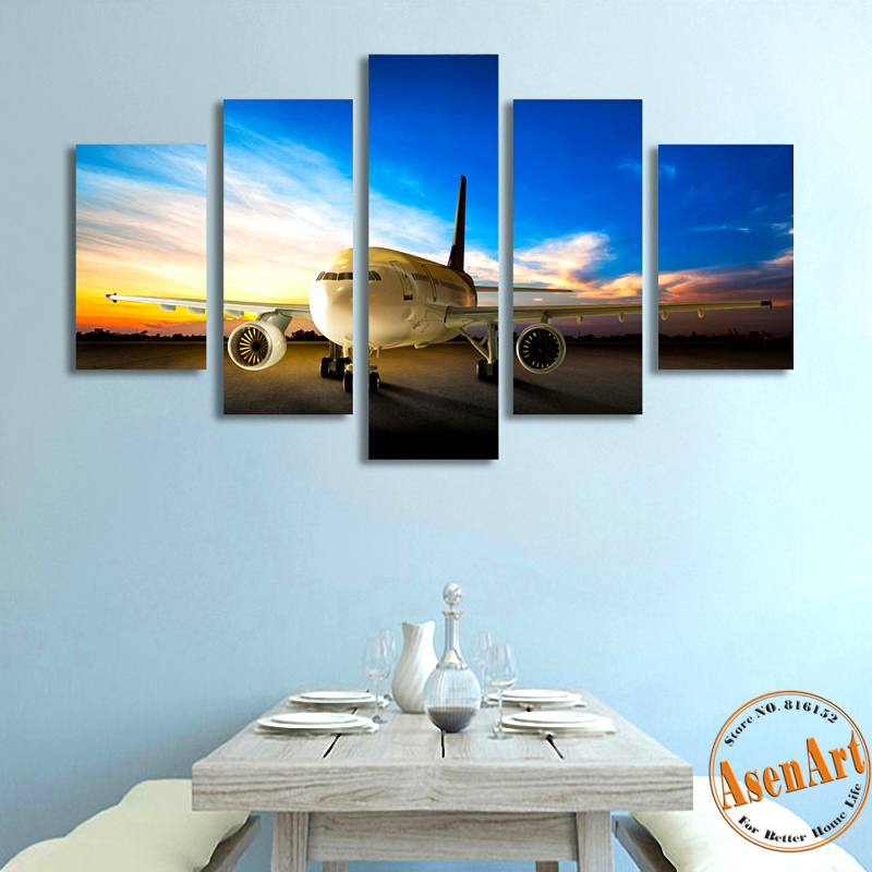 5 Panels Airplane Canvas Painting Print Quadro Home Decor Cuadros Wall Pictures For Living Room Modern Picture 2016 No Frame