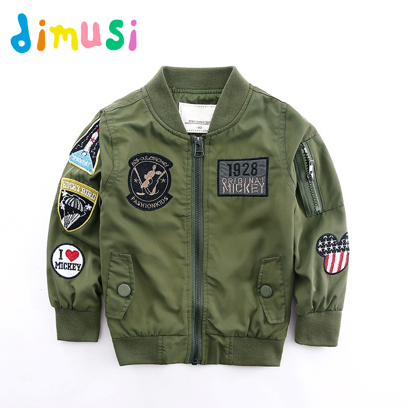 DIMUSI Spring Jackets for Boy Coat Army Green Bomber Jacket Boy's Windbreaker Autumn Jacket Patchwork Kids Children Jacket BC004 striped trim fluffy panel bomber jacket