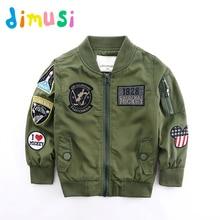 DIMUSI Spring Jackets for Boy Coat Army Green Bomber Jacket Boy's Windbreaker Autumn Jacket Patchwork Kids Children Jacket BC004