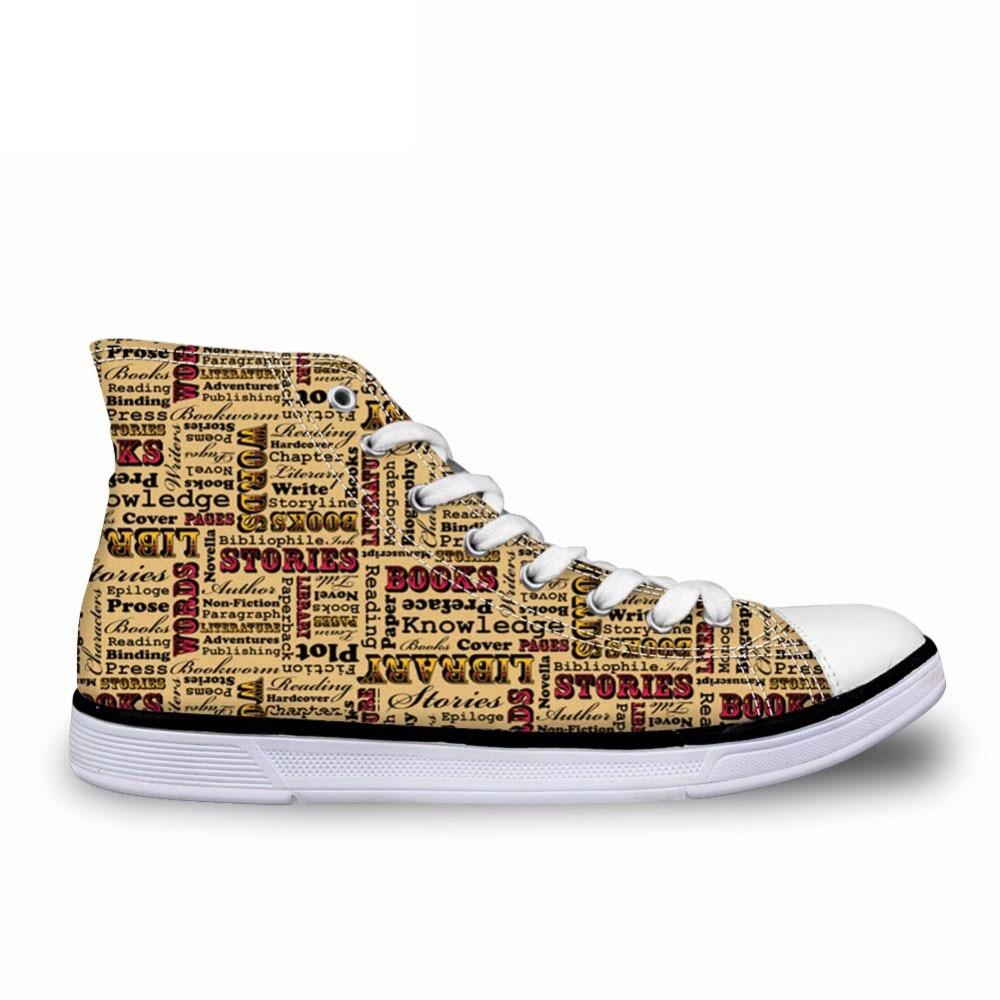 Buch Liebhaber Mens High Top Sneakers, Personalisierte Schuhe Brief Druck Schuhe Vintage Männer Flache Vulkanisieren Schuhe Mann