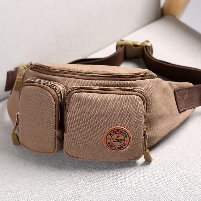 BUWEIS Men Waist Bags Functional Bag Vintage Men s Casual Waist Pack Purse Mobile Phone Case