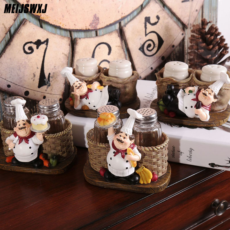 Cute Chef Pepper Bottle Ornaments Home Decoration Accessories Artesanato Miniaturas Manualidades Kitchen Decoration Resin Crafts