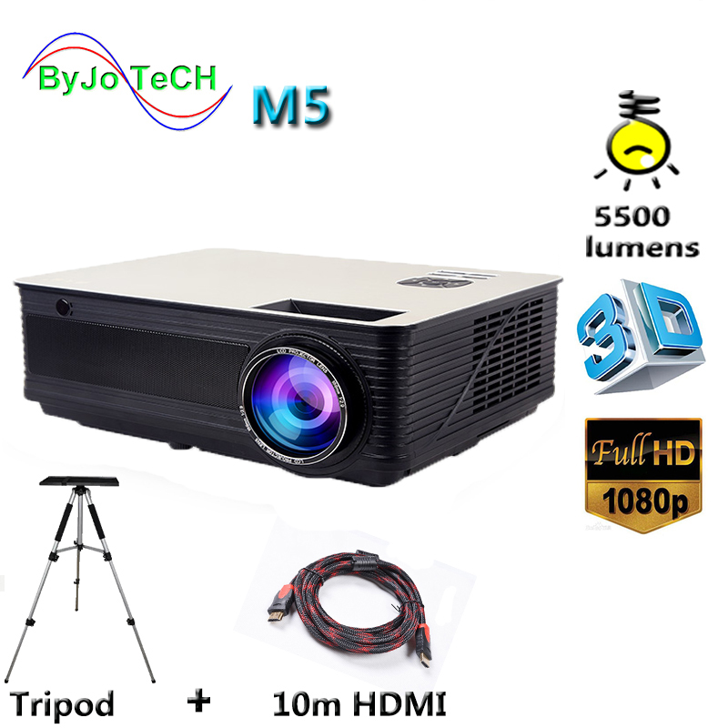 Poner Saund M5 LED Projecteur 5500 Lumens Full HD 1080 p Double HIFI haut-parleurs Avec 10 m HDMI Trépied 3D proyector LCD Vs led96
