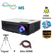 Poner Saund M5 LED Projector 5500 Lumen Full HD 1080P Double HIFI speakers With 10m HDMI Tripod 3D Proyector LCD Vs led96 цена и фото