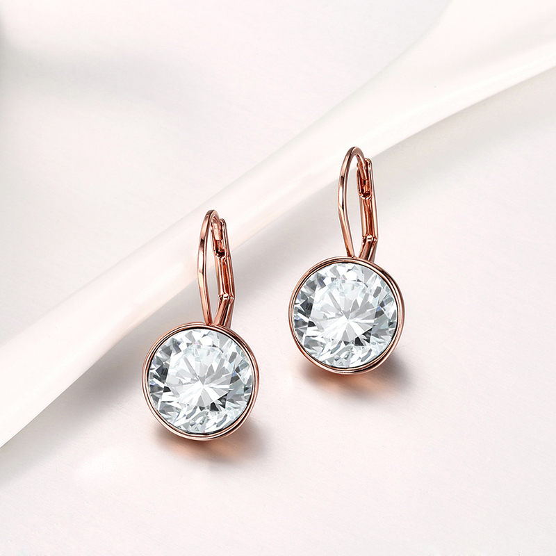 Baffin Clic Bella Stud Earrings Original Crystals From Swarovski Rose Gold Color For Women Wedding Jewelry In
