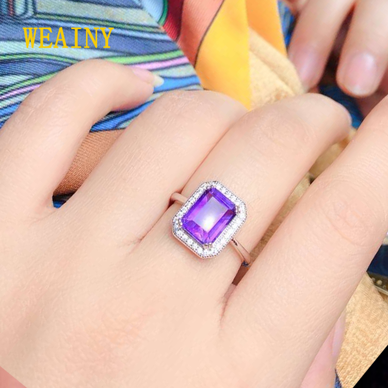 WEAINY Natural Amethyst Rings Real 925 Sterling Silver Women's Gemstone Fine Jewelry Ring Party Anniversary Gifts Big Size 4-13