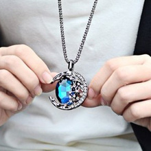 Knock Gem Moon Bend Long Necklace Female Vampire Diaries With Paragraph Meniscus Starry Sweater Chain