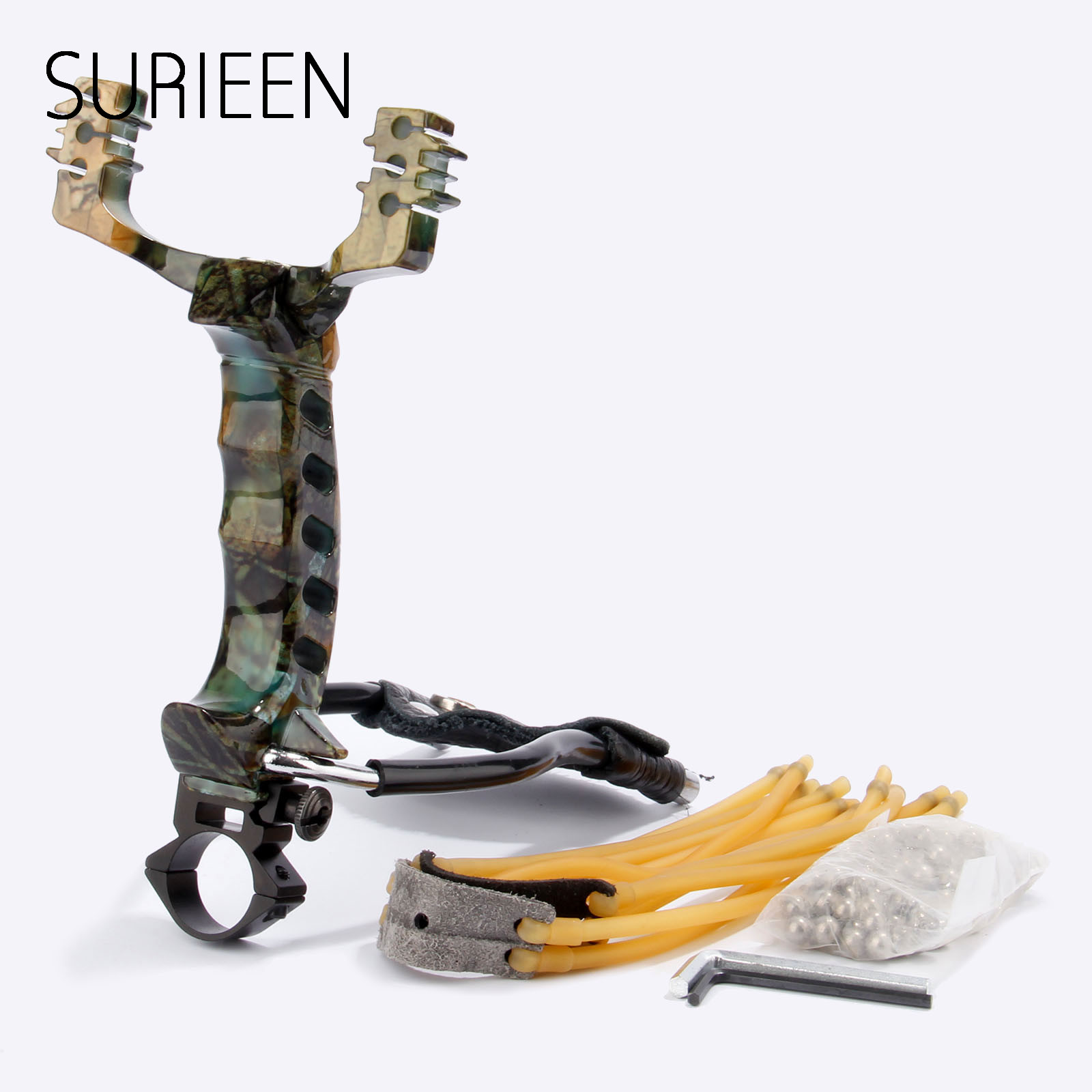 SURIEEN High Velocity Hunting Sling Shot Slingshots Catapult W/ Wrist Brace+Rubber Bands+Steel Balls Arrow Rest Flashlight Clamp